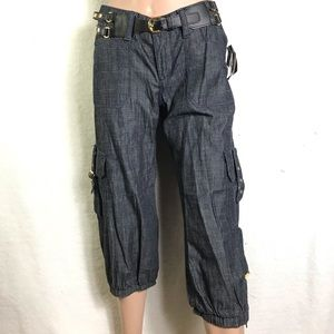 NWT baby phat Cargo belted crop jeans 5